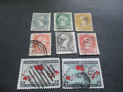 An Assortment Of Eight {8} Older Canadian Used Stamps. Lot Ab-60.