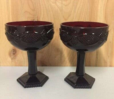 2 Avon Ruby Red 1876 Cape Cod Collection Champagne Glass Dessert Sherbets