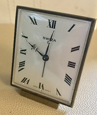 Vintage Swiss Swiza 8 Day Brass Alarm Clock
