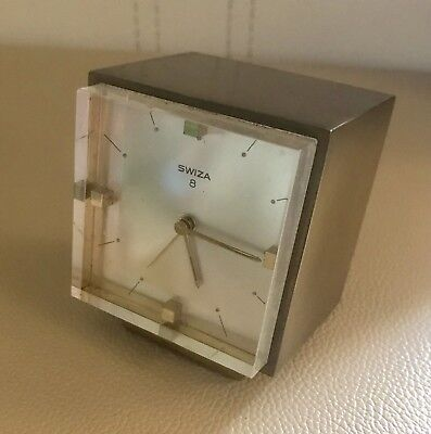 Vintage Swiza 8 Brass Cube Mechanical Alarm Clock