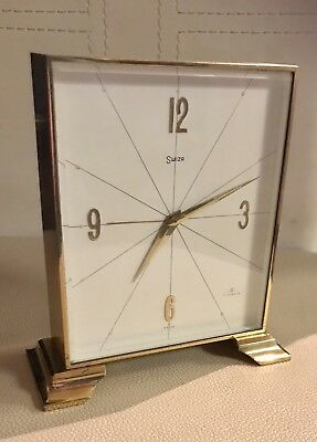 VINTAGE 1960's SWISS SWIZA 7 JEWELS BRASS ALARM CLOCK