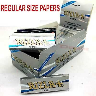 REGULAR SIZE RIZLA  MICRON SILVER Thin Sheets Cigarette Rolling Papers Booklet U