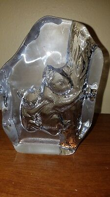 Cristal D'Arques Lead Crystal Etched Glass Koala Bears Figurine Paperweight