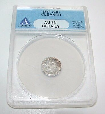 Rare 1861 Three Cent Silver Piece  Anacs Au 58 Details Free Shipping