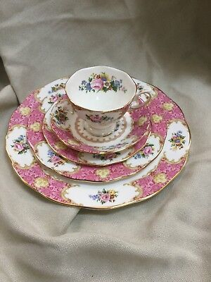 Royal Albert Lady Carlyle Tea Cup Saucer And Plate Luncheon Dinner Set