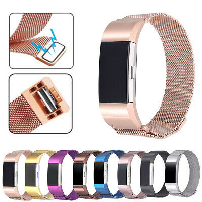 For FitBit Charge2 Wristband Metal Stainless Milanese Magnetic Loop Band Strap H