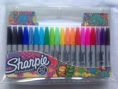 SHARPIE Fine Point Permanent Markers - Multi Coloured - Pack of 20 BNIP