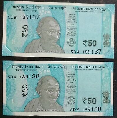 NEW INDIAN 50 Rupees currency note Mahatma Gandhi in the