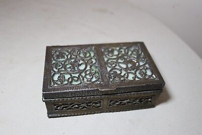 antique 1800's ornate bronzed metal stained glass wood cigarette dresser box