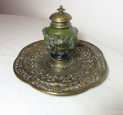 antique ornate 1800s Victorian gilt bronze pottery majolica desk inkwell tray