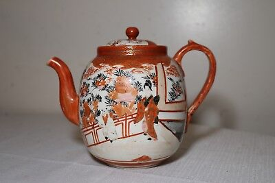antique 19th century Japanese Kutani hand painted Meiji porcelain teapot pot