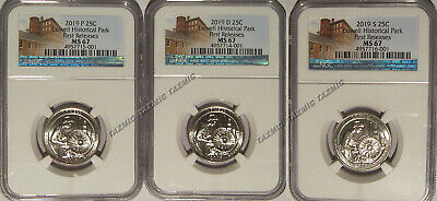 2019 P D S Lowell Historical Park NP Quarter 3 Coins 25c NGC MS67 First Releases
