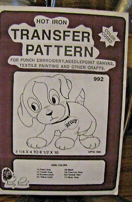 Pretty Punch Iron Transfer Pattern, Punch Embroidery, etc. Puppy Reddy #992 -NOS