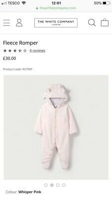 Little White Company Whisper Pink Fleece Cuddly All In One /snowsuit 0-3 Mth