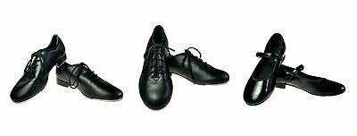 3 Pair Little Girls Black Patent Leather Tap Dancing Shoe Youth Dance