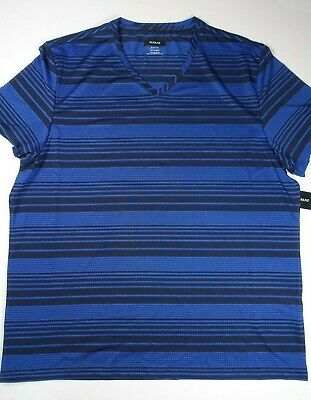 ee82ba7c6e80 ALFANI Men's Neo Navy Black Ethan Stripe Activewear V-Neck T-Shirt **