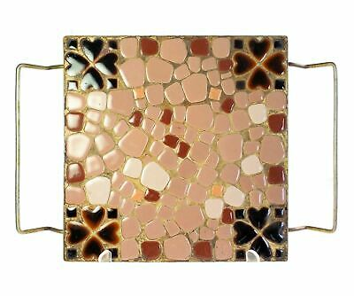 Square Mid Century Mosaic Stone Tile Hot Plate Trivet 8.25 Inch Hand Made