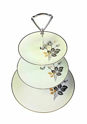 Coreling China Bavaria Mystic Rose 3 Tier Tidbit Snack Canape Tower Plate