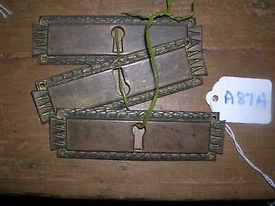 Three Antique Brass Escutcheons (A87A)