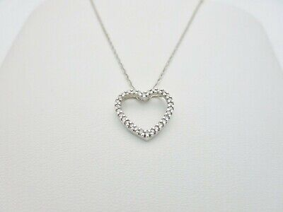 ab56eb34a201a 14K SOLID WHITE Gold .30 ctw Natural Diamond Heart Pendant Necklace ...