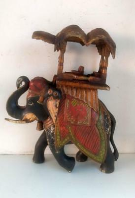 Vintage Old Hand Crafted Painted Beautiful Decor Elephant Big Figurine Statue