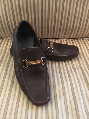 f2fff71c5 Gucci Men's HorseBit Driving Loafers Size 9.5 Brown Leather Bamboo
