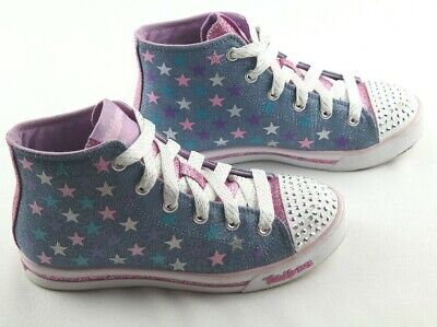 28697a67c64e Skechers Twinkle Toes Sparkle Glitz Sneakers Girls Size 2 Light Up Hi Top  Shoes