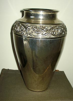 "L'argentiere Italy Silver Plated Detailed 9 1/4"" Tall Vase"