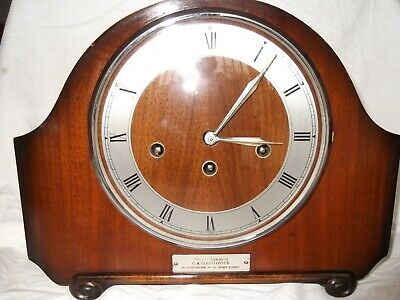 8 Day Mantel Clock with Westminster Chimes. Floating Balance Mvmt. B.R. Clock.