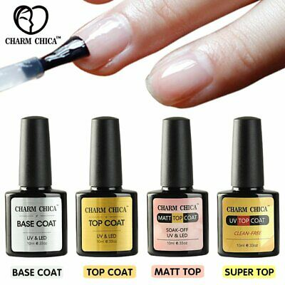CHARM CHICA Top & Base Coat Gel Nail Polish UV/LED Soak Off Nail Art Manicure
