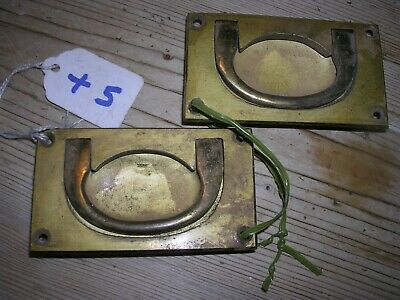 Pair Of Antique Brass Inset Handles (+5)