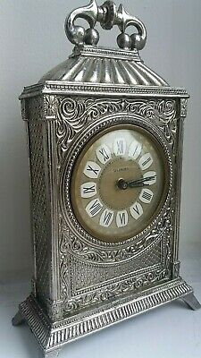 "Ornate "" Splendex "" Antique Metal Mechanical 30 Hour Bedside Clock. Good Order."