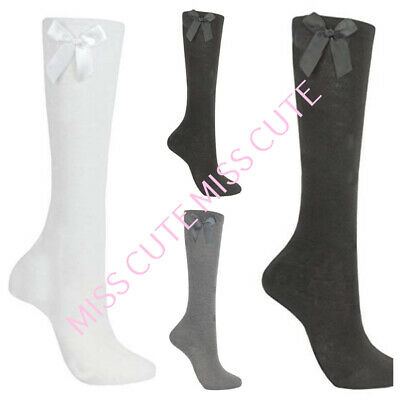 Kids Girls Plain Long Knee High School Cotton Rich Socks With Bow Ribbon 3 Pairs