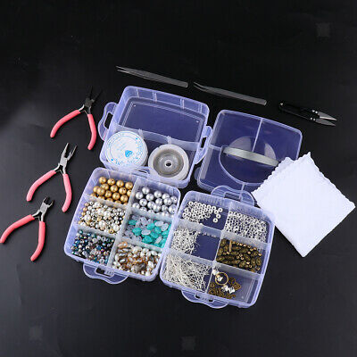 1 Box Jewelry Making Kit Includes Assorted Beads Findings Tweezers Wire Cord