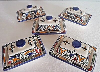 Hand Painted Ceramic Lidded Butter Dish * Moroccan Pottery * Blue Top