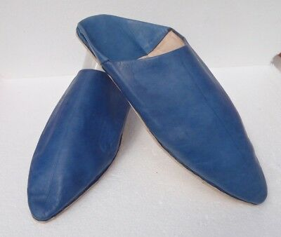 Unisex Moroccan Leather Pointed Backless Mules / Slippers * Blue * All Sizes