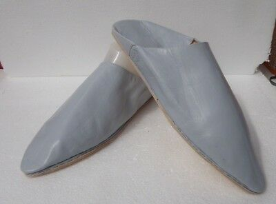 Unisex Moroccan Leather Pointed Backless Mules / Slippers * Grey * All Sizes