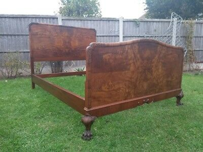 ART DECO/  Vintage/ OLD/  Walnut / double bed frame