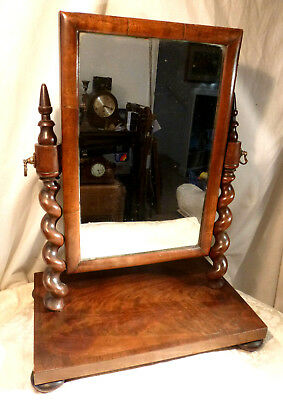 Antique Mahogany Wood Swing Mirror Table Top Toilet Dressing Table Freestanding