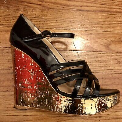 c2960849da3 YSL Yves Saint Laurent Black Patent Leather Strappy Gold Cork Wedge Sandals  41