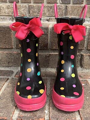 d2bf3c388 Precious Girls Rain Boots by Western Chief Kids Black Polka Dots with Bow  11/12