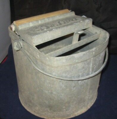 VINTAGE DeLuxe Galvanized Metal Mop Bucket w/ Wood Rollers Made in USA