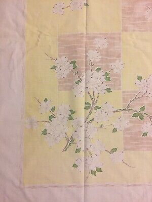 "Vintage Cotton Printed Tablecloth Dogwood Yellow, Lt Brown White 46 1/2""X53 1/2"""