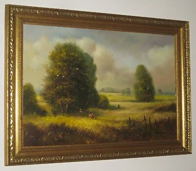 TED DYER Large Oil Painting Picking Wild Spring Flowers Meadow *FINAL REDUCTION*