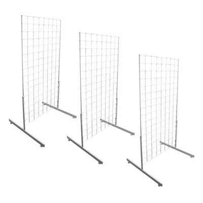 3 WHITE Gridwall Panel 4 Ft Tall Wire Grid Shelving Board T-Leg Retail Display