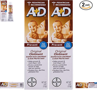 A & D Diaper Rash Ointment & Skin Protectant,Original 4-Ounce(Pack of 2) NO TAX