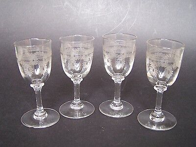 Set of 4 Edwardian Hand Blown Etched Sherry Glasses
