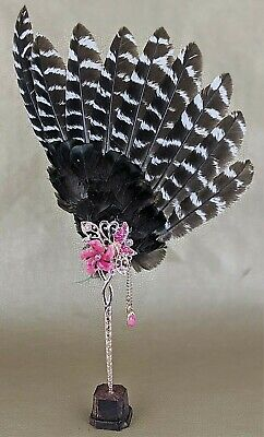 S10 Reproduction Antique Victorian Style Hand Tea Feather Fan wood Stand Disply