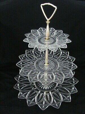 "Federal Glass 3 Tier ""Petal Clear"" Tidbit Tray - VINTAGE 1960's"