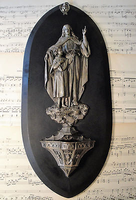 RARE Large Antique French Black Marble Church Holy Water Font Jesus Angels c1880
